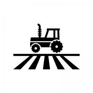 畑を耕すトラクターの白黒シルエットイラスト