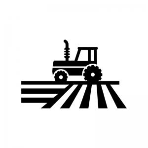 畑を耕すトラクターの白黒シルエットイラスト02