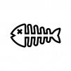 魚の骨の白黒シルエットイラスト02