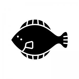 ヒラメの白黒シルエットイラスト