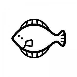 ヒラメの白黒シルエットイラスト02
