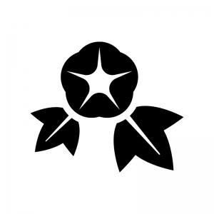 あさがお(朝顔)の白黒シルエットイラスト