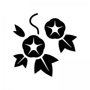 あさがお(朝顔)の白黒シルエットイラスト02