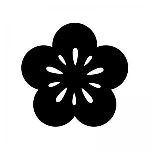 梅の花の白黒シルエットイラスト05