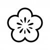 梅の花の白黒シルエットイラスト06