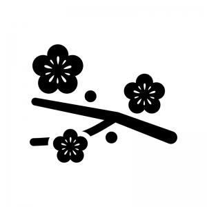 枝と梅の花の白黒シルエットイラスト
