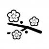 枝と梅の花の白黒シルエットイラスト02