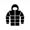 フード付きダウンジャケットの白黒シルエットイラスト