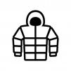 フード付きダウンジャケットの白黒シルエットイラスト02