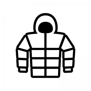 フード付きダウンジャケットのシルエット02 無料のaipng白黒