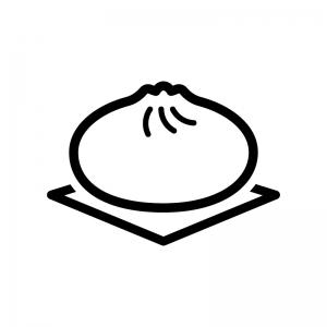 中華まん・肉まんの白黒シルエットイラスト