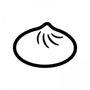 中華まん・肉まんの白黒シルエットイラスト02