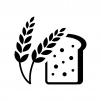 麦穂とライ麦パンの白黒シルエットイラスト