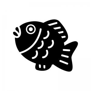 たい焼きの白黒シルエットイラスト