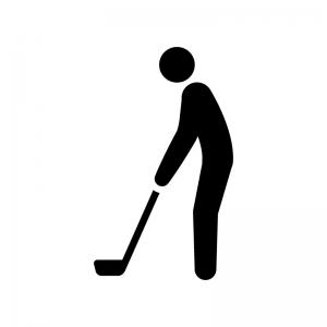 ゴルファーの白黒シルエットイラスト