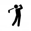 ゴルファーの白黒シルエットイラスト02