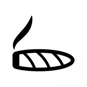 葉巻の白黒シルエットイラスト02