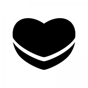 ハートのチョコレートの白黒シルエットイラスト