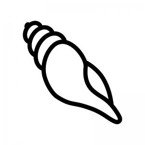 ほら貝の白黒シルエットイラスト02