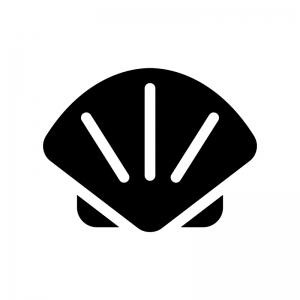 ホタテ貝の白黒シルエットイラスト