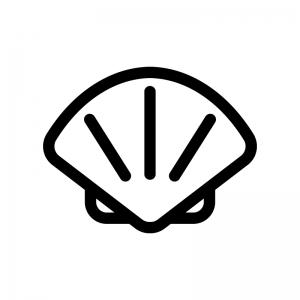ホタテ貝の白黒シルエットイラスト02