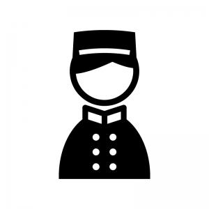 ホテルマン・ベルボーイの白黒シルエットイラスト02
