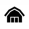 納屋の白黒シルエットイラスト