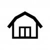 納屋の白黒シルエットイラスト02