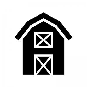 納屋の白黒シルエットイラスト03