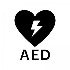 AEDの白黒シルエットイラスト