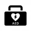 医療・AEDの白黒シルエットイラスト