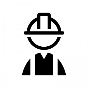 工事作業員の白黒シルエットイラスト02