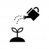 じょうろと植物の芽の白黒シルエットイラスト02