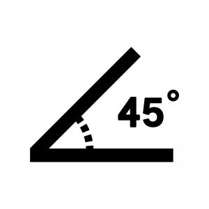 45度の白黒シルエットイラスト