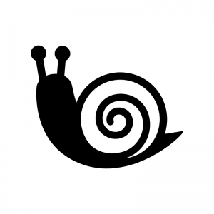 カタツムリの白黒シルエットイラスト02