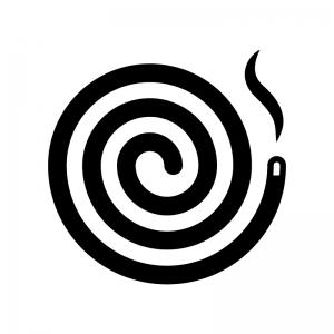 蚊取り線香の白黒シルエットイラスト