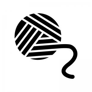 毛糸玉の白黒シルエットイラスト