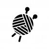 毛糸玉の白黒シルエットイラスト02