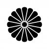 菊紋の白黒シルエットイラスト