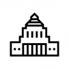 国会議事堂の白黒シルエットイラスト02
