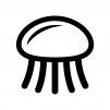 クラゲの白黒シルエットイラスト02