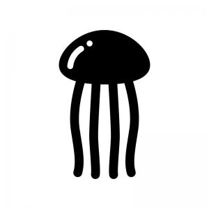 クラゲの白黒シルエットイラスト03