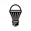 LED電球の白黒シルエットイラスト02