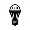 LED電球の白黒シルエットイラスト04
