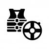 浮輪とライフジャケットの白黒シルエットイラスト02