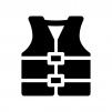 ライフジャケットの白黒シルエットイラスト