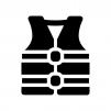 ライフジャケットの白黒シルエットイラスト02