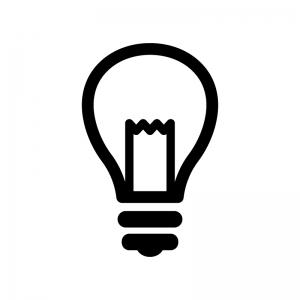 電球の白黒シルエットイラスト07