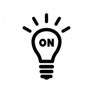 電球とONの白黒シルエットイラスト