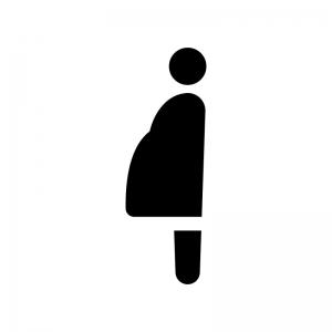 妊婦さんの白黒シルエットイラスト